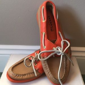Sperry leather top sider - ORANGE/TAN size 6